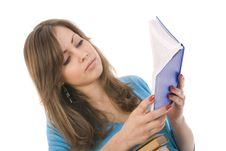 Free Beautiful Girl Thoughtfully Reading A Book Royalty Free Stock Photos - 17199548