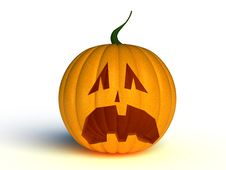 Free Frightened Yellow Pumpkin Royalty Free Stock Photography - 17199677