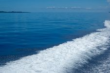 Free Speedboat Wash On Beautiful Blue Sea Stock Image - 17199931