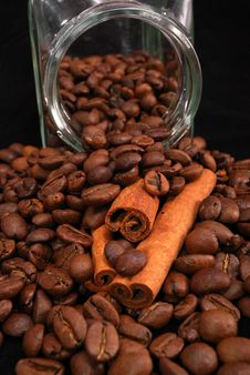 Free Grains Of Coffee And Stick Cinnamon Royalty Free Stock Photography - 17199977