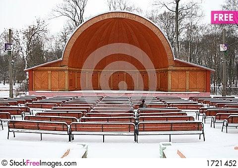 Alone in straw-hat theatre Stock Photo