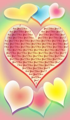 The Stylized Image Of Seven Hearts On A Multi-coloured Background Royalty Free Stock Photos