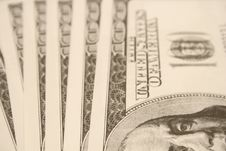Free $100 Bills Laid Vertical Background Royalty Free Stock Photography - 1724167