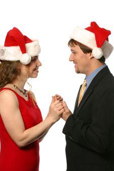 Free Happy Christmas Couple Stock Image - 1726811