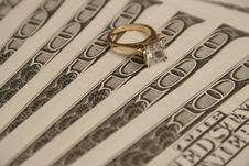 Free Diamond Ring & Money Background Stock Image - 1728741