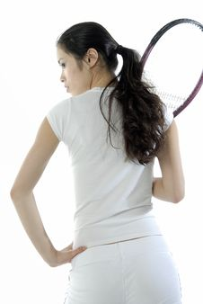 Free Asian Girl With A Tennis Racket Royalty Free Stock Images - 1729079