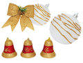Free Christmas White-gold Ball, Ribbon, Bells. Royalty Free Stock Images - 17203619