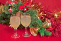 Free Christmas Tree And Glasses Of Wine . Royalty Free Stock Image - 17208316