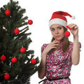 Free Woman Decorate A Christmas Tree Royalty Free Stock Photos - 17209958