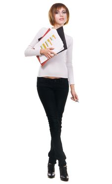 Free Young Woman With Folders And Business Papers Royalty Free Stock Images - 17200129