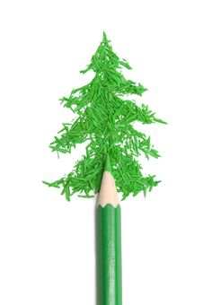 Free Fur-tree From Crumbs And A Green Pencil Stock Images - 17200354