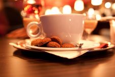 Free Cup Coffee With Cookies Stock Images - 17201824