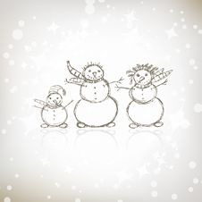 Free Family Of Snowmen, Christmas Sketch Stock Photography - 17201912