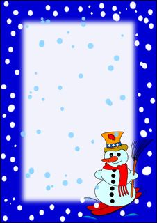 Free Frame With Snowman Royalty Free Stock Image - 17202826