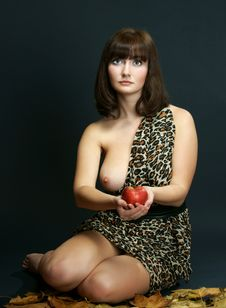 The Girl With An Apple Stock Photo