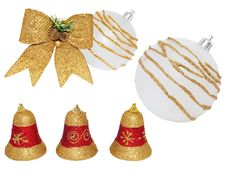 Christmas White-gold Ball, Ribbon, Bells. Royalty Free Stock Images