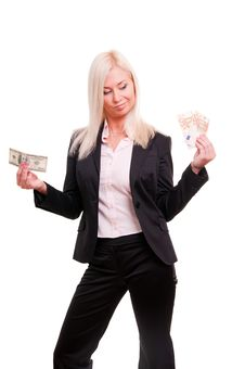 Free Woman Holding Euro In One Hand And Dollars In Ano Royalty Free Stock Images - 17204049