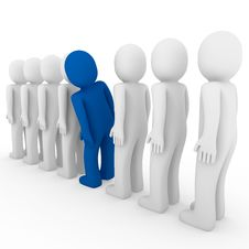 3d Human Stand Crowd Blue Royalty Free Stock Image