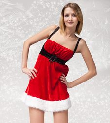 Free Christmas Girl In Santa Claus Clothes Stock Photo - 17204320