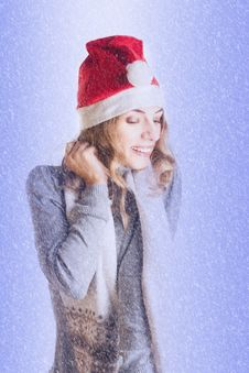 Woman In Santa Hat Stock Image