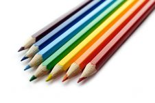 Color Pencils Arranged In Rainbow Spectrum Order Royalty Free Stock Images