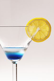 Free Blue Cocktail With Yellow Lemon Royalty Free Stock Photo - 17205845
