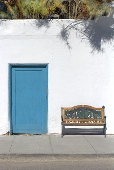 Free Rustic Teal Door And Bench Royalty Free Stock Image - 17206166