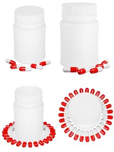 Free Set Of Capsule Pills And White Plastic Bottle. Royalty Free Stock Photography - 17206787