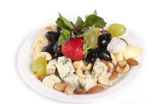 Free Cheese Plate With Fruits Stock Photography - 17207332