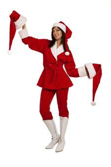 Santa Girl With Two Xmas Hats Royalty Free Stock Photos