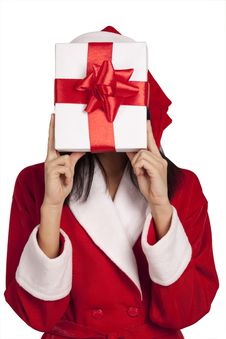 Free Santa Covering Her Face By A Gift Box Stock Image - 17207351