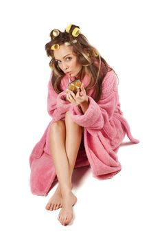 Free Woman In Pink Bath Robe Making-up Stock Photos - 17207363