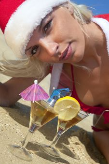 Sexy Women In Christmas Suit With Martini Royalty Free Stock Photography