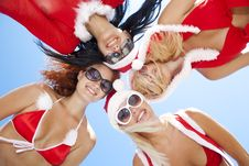 Free Low Angle View Of Happy Girls In Christmas Suit Stock Images - 17207414