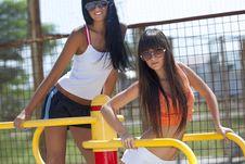 Free Girls On Sport Playground Royalty Free Stock Photo - 17207425