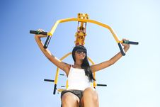 Free Model Working Out On Fitness Playground Royalty Free Stock Image - 17207426