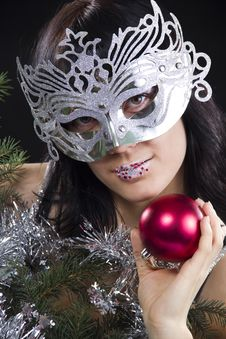 Free Girl In Mask Holds A Red Sphere Stock Image - 17207851