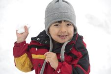 Free Young Boy With Snowball In Hand. Royalty Free Stock Photography - 17208047