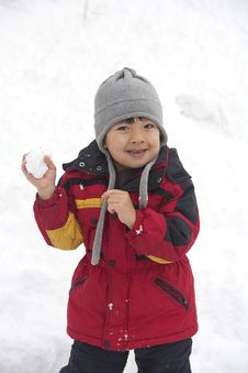Free Boy With Snowball. Royalty Free Stock Photo - 17208055