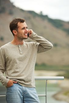 Handsome Man With Mobile Phone Stock Image