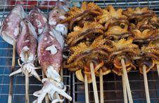 Free Grilled Squids And Octopus Royalty Free Stock Images - 17209779
