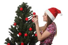 Free Woman Decorate A Christmas Tree Stock Photography - 17209952
