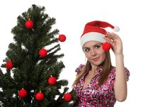 Free Woman Decorate A Christmas Tree Stock Images - 17209954
