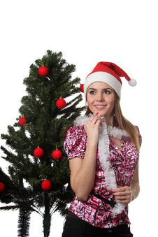 Free Woman Decorate A Christmas Tree Royalty Free Stock Photos - 17209968