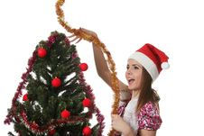 Free Woman Decorate A Christmas Tree Stock Photos - 17209973