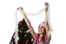 Free Woman Decorate A Christmas Tree Stock Photography - 17209982