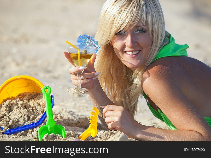 Girl at the sunny beach
