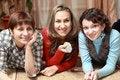 Free Three Women Watching Television Royalty Free Stock Photos - 17211658