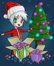 Free Christmas Tree, Gift Boxes And Cute Santa Royalty Free Stock Photos - 17212668