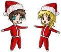 Free Cute Anime Santa Girl And Boy Royalty Free Stock Image - 17212696